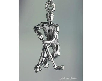 Sterling Silver Ice Hockey Player Charm Winter Sports 3D Solid .925