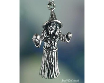 Sterling Silver Wizard Charm with Crystal Ball Magician 3D Solid .925
