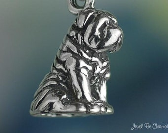 Sterling Silver Chinese Shar-Pei Charm Sitting Sharpei Dog Solid .925