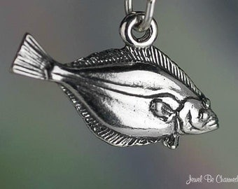Halibut Charm Sterling Silver Pacific Halibuts Fish Ocean Solid .925