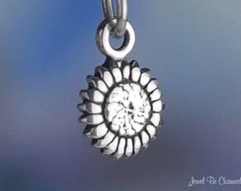 Miniature Sterling Silver Sunflower Charm Tiny Sunflowers Solid .925