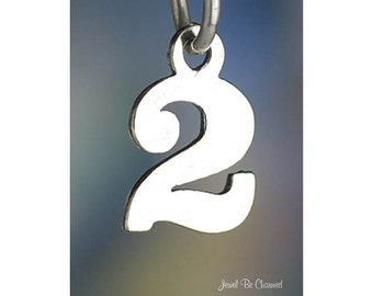 Small Number Two Charm Sterling Silver Numeral 2 Digit Solid .925