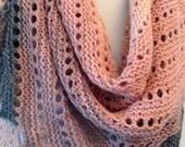 Hand Knit Asymmetrical Triangle Shawl, Hand Knit Shawl, Pink Grey Hand Dyed Gradient Yarn, Pink Grey Knit Scarf, Luxury Yarn Scarf