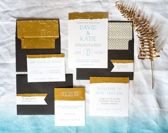 Gold Dipped Modern Wedding Invitation Suite - Digital Files