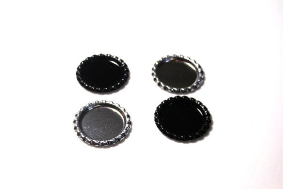 Flattened 1 black bottle caps double sided set of 25 for Wholesale bottle caps for crafts