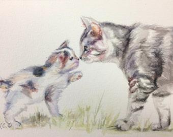 Nose to Nose! Cat Mama and her Kitten-Original Watercolor Painting by Jodi J. Callahan