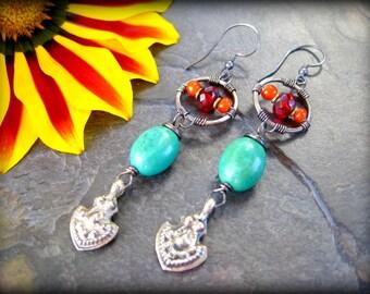 Genuine Turquoise Stone Earrings, Tribal Earrings, Afghan Jewelry, Sterling Silver Wire Wrapped Ethnic Earrings, Kuchi Jewelry