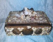 Upcycled Antique Wood Cigar Box With Seashells- Faux Sailors Art