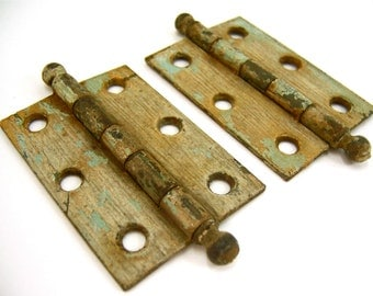2 old ball tip hinges with rustic green white vintage patina, woodworking mixed media art craft supplies, primitive industrial retro antique