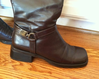 Nine West vintage riding boots, Kate Middleton tall boots, leather, stack heel, square toe, 8 1/2