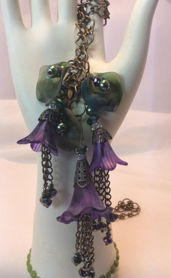 Hand Watercolored Lucite Flower Necklace Purple Romantic Victorian Renaissance