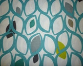 "RESERVED BIG 27 x 19"" Large Teal FQ Fat Quarter Oversized Fabric Green Grey Black Upholstery Craft Material Funky Geometric Cotton"
