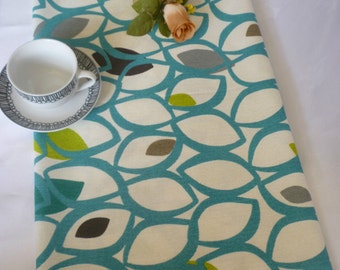 """78"""" Retro Teal Table Runner Gray Green and White Funky Cotton"""