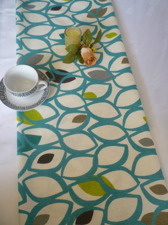 78 Retro Teal Table Runner Gray Green And White Funky