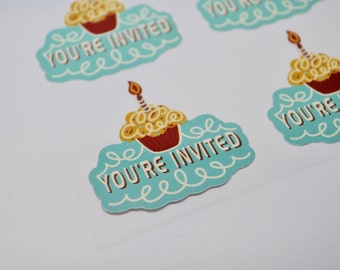 YOU'RE INVITED Sticker - Qty 8 - Birthday sticker - Invitation Supply - Envelope Seal - First Birthday - cupcake sticker