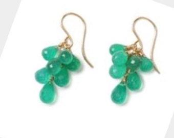 Bright spring green onyx cluster drop earrings