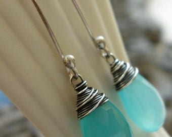 Aqua blue/green chalcedony and oxidized sterling silver drop earrings
