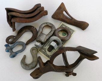Industrial Salvage- Vintage Saw Vise- Stove Legs- Rusty Metal- Junk Drawer