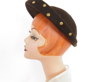 Vintage 1940s hat, woman's  brown halo, WW2 style