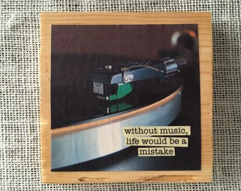 Vinyl Record Sign with Nietzsche quote