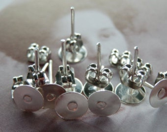 Silver 6mm Earring Post Studs with Butterfly Clips 20 pcs - Australia