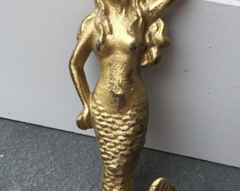 Mermaid Hook, Nautical Hook, Beach Decor, Gold Mermail, Nautical Decor, Home and Garden Decor