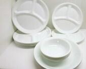 Vintage Corelle Divided Dishes, Vegetable Bowls,  Fruit Bowls~Corelle Corning Ware Winter White Frost~Corelle Winter Frost White Livingware