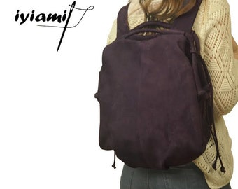 Handmade leather backpack - Katerina in purple nubuck, MADE TO ORDER