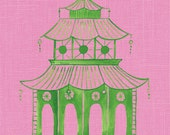 Pink Pagoda Art, Preppy Wall Decor, Chinoiserie Pagoda, Green Pagoda Painting, Palm Beach, Hollywood Regency, Green Pagoda Art, Ginger Jar