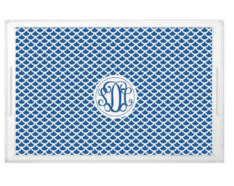 Scale Pattern Tray - Wedding Shower Brunch Tray -  Housewarming Gift Tray - Custom Pattern Design with Monogram - Party Decor