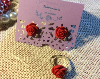 Rose Stud Gift Set - handmade polymer clay mini rose studs & ring