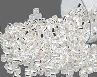 Miyuki Delica #41 Silver Lined Crystal 11/0 in 1, 5 or 10 gram package