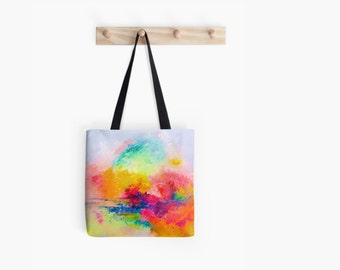 Bright and Colorful Neon Abstract Landscape painting tote bag. A beautiful mix of neon brights and pastels. The perfect summer tote.