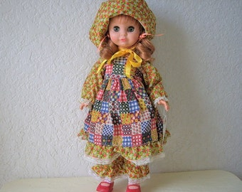 "My Little Gal In Calico. 15"" plastic Impish looking Uneeda doll dressed in Calico, 1960s"