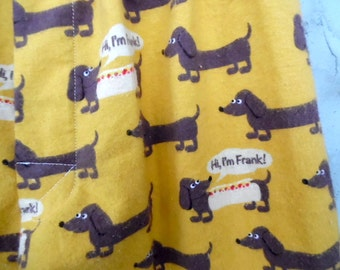 Dachshund Flannel PJ Pants / Men's Med LG/ Hotdog Wiener Dog