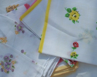 Bundle Vintage French Country Cottons Fabric Squares Floral Handkerchief Rosy Bunting