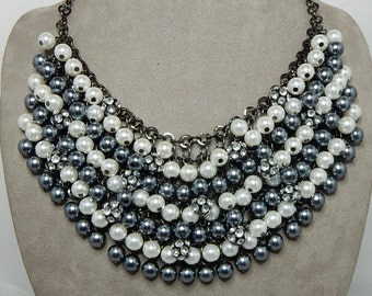 Shades of Gray Pearl & Rhinestone Rondelle Bib Necklace    NAW31