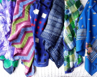 6 Signed Blue Silk Scarves Scarf 3 Square & 3 Long