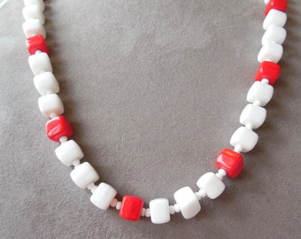 Red & White Large Glass Bead Czech Necklace    MAH11