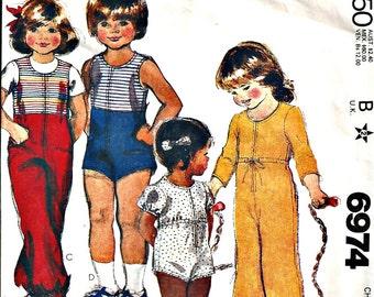 McCalls Pattern 6974 Childrens Jumpsuit Vintage 1980s Size 4 Boys or Girls