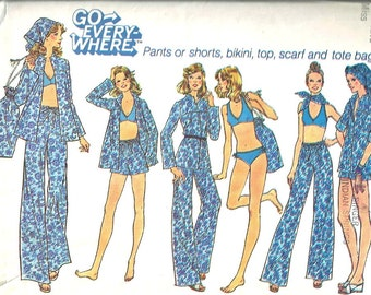 Simplicity Pattern 6941  Bikini, Pants, Shorts, Top, Scarf, Tote Bag Size 10  1970's Vintage