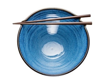 Chopstick holder bowl in Celestial glaze. Wheel thrown pottery with built in chopstick rest // noodle bowl // rice bowl // chopstick bowl //