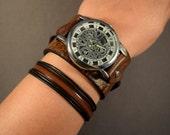 Leather Watch-Steampunk Watch-Cuff Watch-Men Watch-Women Watch-Jewelry Set-Skeleton Watch-Gift for Men-Gift for Her-Gifts-Watch