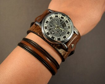 Leather Watch-Steampunk Watch-Cuff Watch-Men Watch-Women Watch-Jewelry Set-Skeleton Watch-Gift for Men-Gift for Her-Gifts-Watch