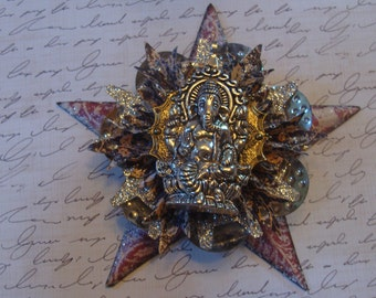 Ganesh Steampunk Assemblage Christmas Star Ornament