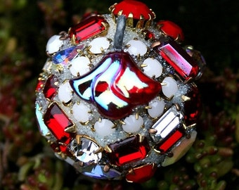 ON SALE Vintage Crystals Rhinestones Ball Orb Sphere Ornament  - Red, White - Iced Cranberry