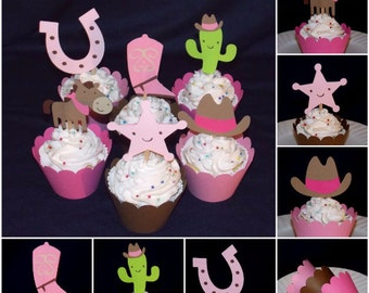READY TO SHIP  12 Cowgirl Cupcake Toppers Cowgirl Birthday Party Decoration Cowboy Baby Shower Wild West Rodeo Boot Horse