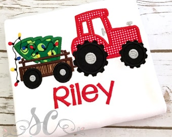 Boys Christmas Shirt - Christmas Tree Shirt with Tractor - Toddler Christmas Shirts - Christmas Tractor Shirt - Personalized Christmas shirt