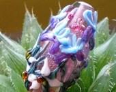 Irises and Trillium Glass Focal Bead