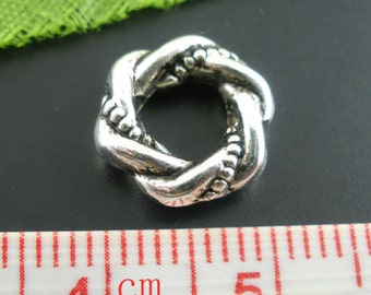 25 pcs. Antique Silver Circle Round Twist Bead Frame - 10mm